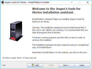 iInstall Reborn Installer. Opening screen, unregistered copy.