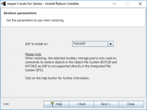iInstall Reborn Installer. Select ASP to restore to.